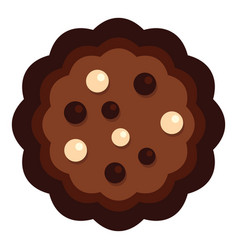 Half chocolate biscuit icon flat style vector