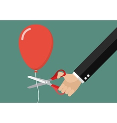 Hand cutting balloon string with scissors vector