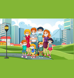 happy family at park vector image