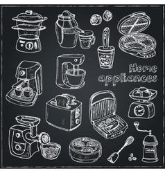 Home appliances themed doodle set vector