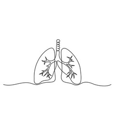 Human lungs icon continuous one line drawing vector