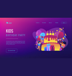 Kids birthday concept landing page vector