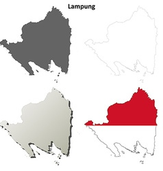 Lampung blank outline map set vector