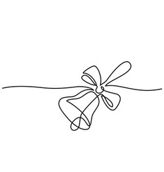 Line drawing school traditional bell and ribbon vector
