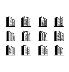 Line perspective building urban icon on white vector