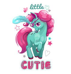 Little cute cartoon horse with pink hair vector