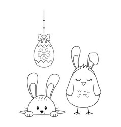 little rabbit and chick with egg painted easter vector image