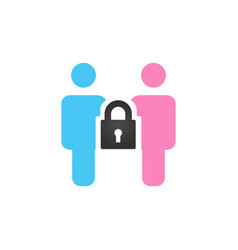 male and female icon with a lock between them vector image