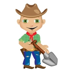Male farmer with shovel in westerns style vector image
