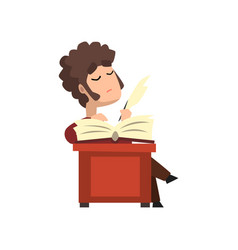 Male poet writing a quill on sheet of paper hobby vector