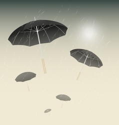 Many black umbrellas and rainy day background vector