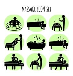 Massage black icons set vector image