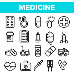 medicine line icon set pharmacy emergency vector image