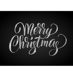 Merry christmas card with silver glitter lettering vector