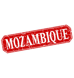 mozambique red square grunge retro style sign vector image