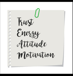 note paper with team motivation text vector image