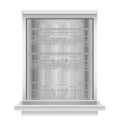 open dishwasher machine icon realistic style vector image