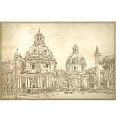 Original digital drawing rome italy cityscape vector