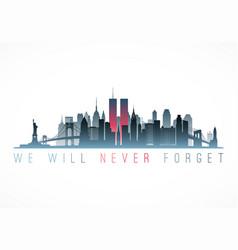 Patriot day banner new york city skyline vector