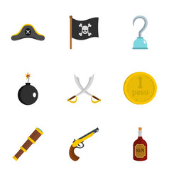 pirates element icon set flat style vector image