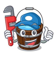 Plumber wooden bucket mascot cartoon vector