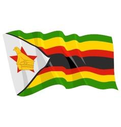 Political waving flag of zimbabwe vector