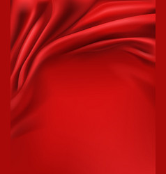 Red satin fabric smooth wavy background vector