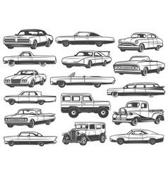 Retro car vintage sedan cabriolet pickup wagon vector