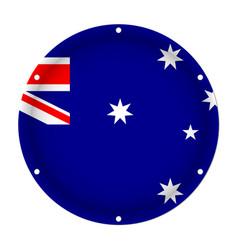 Round metallic flag of australia with screw holes vector