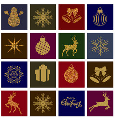 set christmas cards vector image