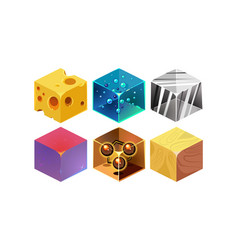 set of 6 isometric cubes with different vector image