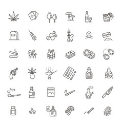 Simple set of drugs related line icons vector