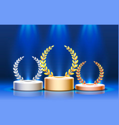 stage podium with lighting stage podium scene vector image