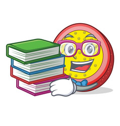 Student with book passion fruit mascot cartoon vector
