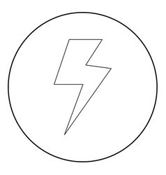 symbol electricity icon black color in circle vector image