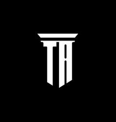ta monogram logo with emblem style isolated on vector image