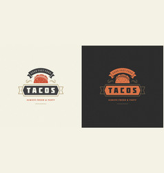 Tacos logo taco silhouette vector
