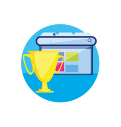 Template web page with cup trophy vector