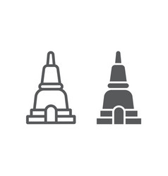 thai pagoda line and glyph icon asia and vector image