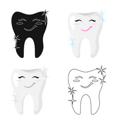 Tooth with diamond icon in cartoon style isolated vector