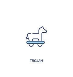 Trojan concept 2 colored icon simple line element vector