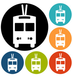 Trolleybus sign icon vector