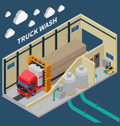 Truck wash isometric composition vector
