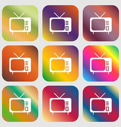 Tv icon sign Nine buttons with bright gradients vector