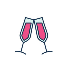 two glasses with red wine modern icon or vector image