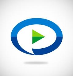 video play talk bubble logo vector image