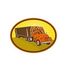 Vintage logging truck vector
