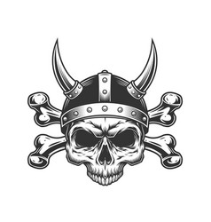 vintage viking skull in horned helmet vector image