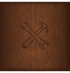 vintage with a hammer and a wrench icon on wood vector image