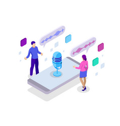 Voice message or recording voice isometric vector